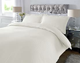 HUESLAND by Ahmedabad Cotton 220 TC Striped Cotton Bedsheet with 2 Pillow Covers, King Size, Ivory