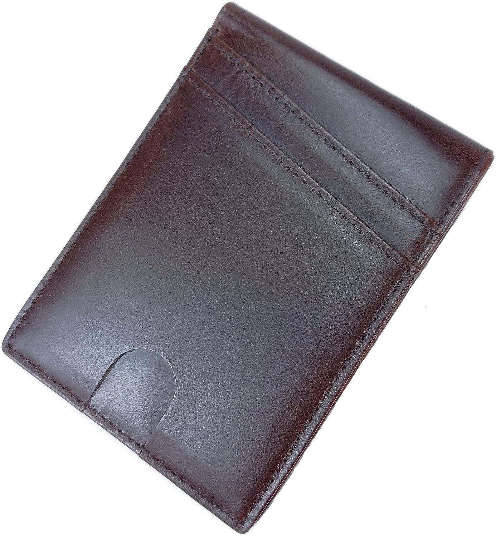 Slim Wallet for Men with RFID Blocking Natur Minimalist Bifold Front Pocket Leather Wallet (Brown)