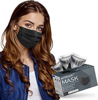 Adult Size Face Mask Black, Disposable Mask 3ply for Men Women Individually Wrapped, Breathable Black Sport Face Cover for Working Out, Soft Comfortable Adjustable Mask with Snug Fit- 50 Packs