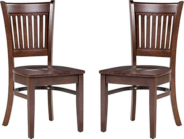Trithi Furniture Duobery Solid Wood Chair In Esso Brown Finish Pack Of 2