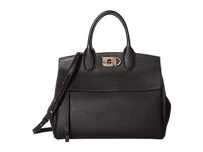 Salvatore Ferragamo The Studio Grainy Medium Top-Handle (Nero) Handbags