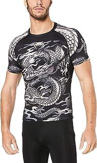 Venum Men's Dragon Short Sleeves Rashguards - Black/Sand, Black/Sand