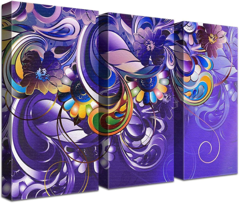 LANA KK Luxus Ausführung Leinwandbild Curvature lilat  Abstraktes Design auf 4cm Echtholz, dreiteilig, lilat, 150 x 100 cm B074T2574T | Bekannt für seine gute Qualität