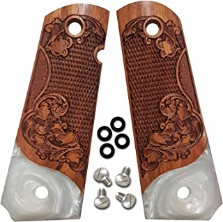 1911 Full Size Grips by Dan Eagle Ole English Design Exotic Solid Rosewood & Simulated Pearl Fits Government, Commander
