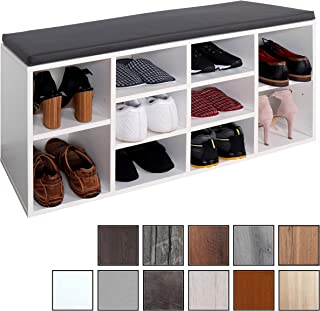 RICOO WM033-W-A, Banco Zapatero, 104x49x30cm, Armario Interior con Asiento, Organizador Zapatos, Mueble recibidor, Perchero Entrada, Madera Blanco