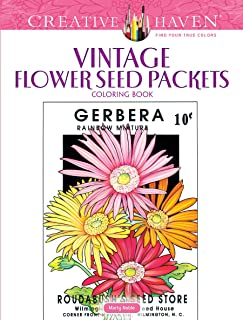 Creative Haven Vintage Flower Seed Packets Coloring Book (Creative Haven Coloring Books)