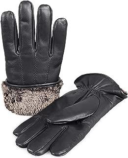 Men's Premium Shearling Sheepskin Fur Lined Leather Gloves