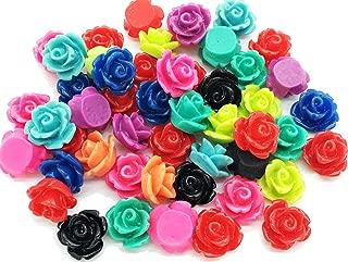 50pcs 10mm Tiny Resin Roses Flower FlatBacks Cabochons Deco F1221x2