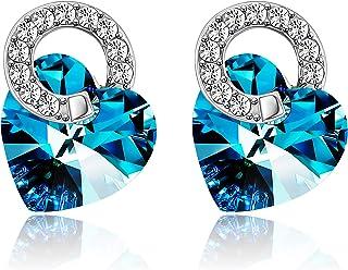 اقراط متدلية على شكل قلب المحيط مرصعة بالكريستال الأزرق مصنوعة من كريستال سواروفسكي أقراط زرقاء للنساء هدايا مجوهرات الحب