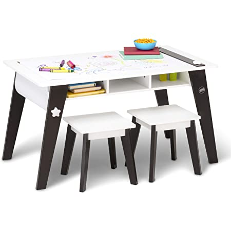 Wildkin Kids Arts And Crafts Table Set For Boys And Girls Mid Century Modern Design Craft Table Includes Two Stools Paper Storage Cubbies Underneath Helps Keep Art Supplies Organized Espresso