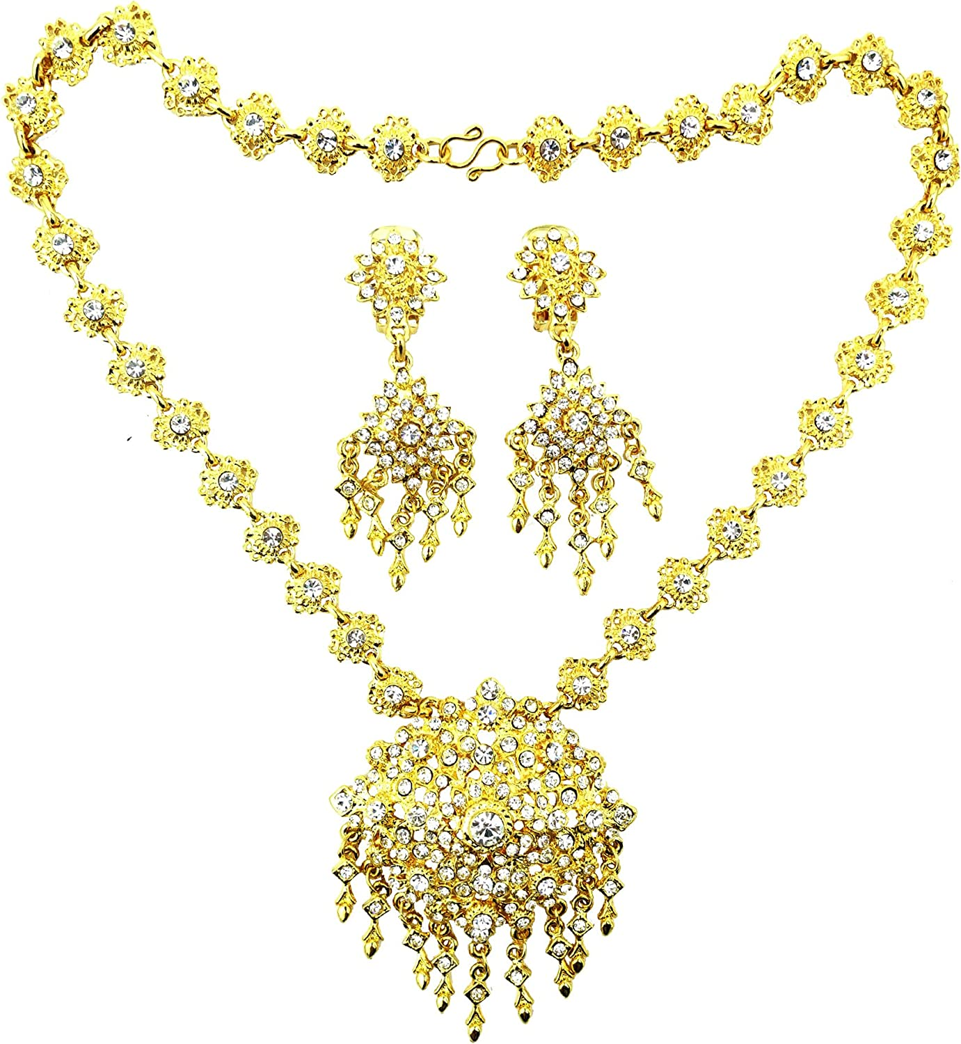 Siwalai trend rank Thai Traditional Gold Plated Special price Necklace Clear Ear Crystals