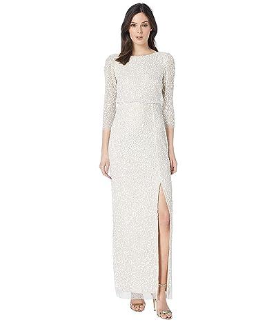 Adrianna Papell Long Beaded Mesh Blouson Dress (Ivory) Women