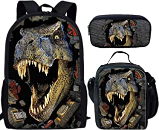 Coloranimal T-rex Dinosaur Travel Backpacks Set with Cooler Warm Picnic Lunch Tote Bags Multifunction Coins Wallet Zip Around Pen Cover Case Holder
