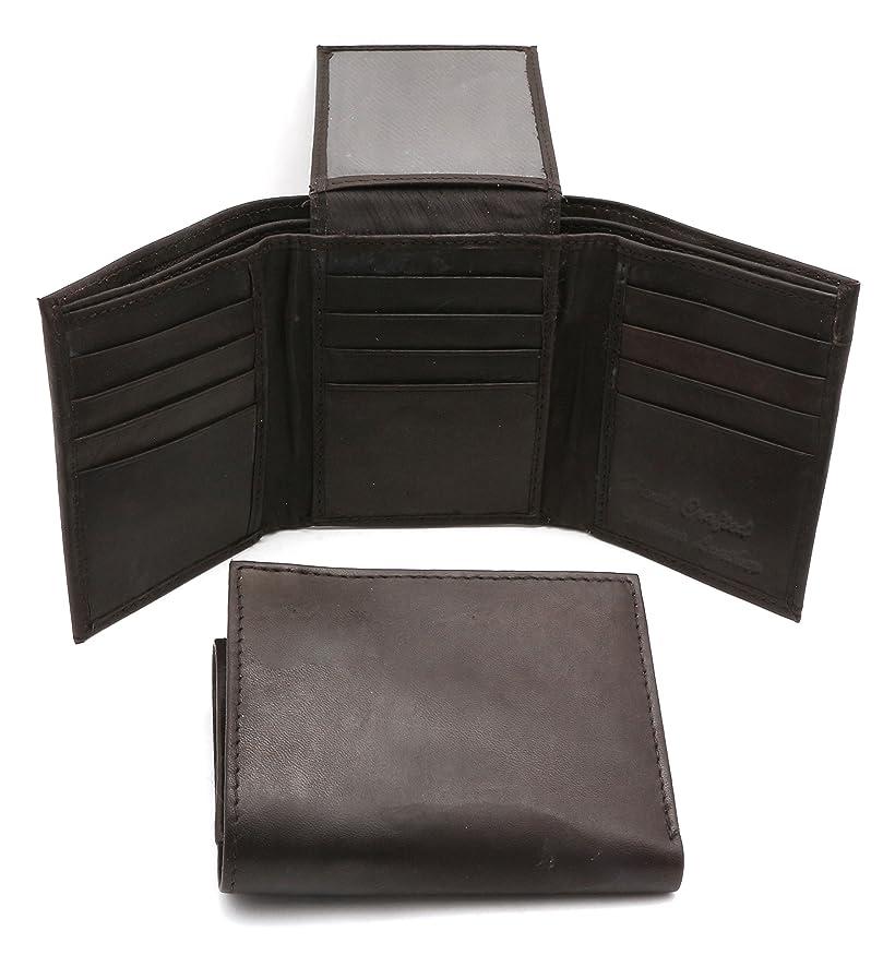 剃る考古学的なアブセイ三つ折り本革ブラウンファスナーポケット付きコンパクト財布12カードポケット
