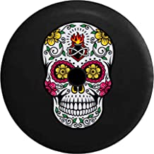JL Spare Tire Cover Sugar Skull Pink Green Yellow Heart with Backup Camera Hole Black 33 in