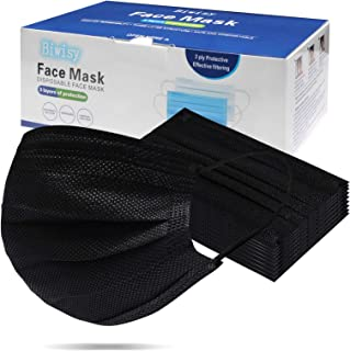 Biwisy 50pcs 3-Ply Disposable Face Mask With Elastic Earloop Masks (50PCS, Black)