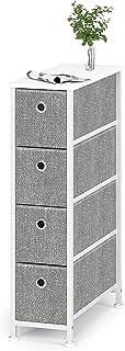 Meuble de Rangement Commode Étroit à 4 Tiroirs en Tissu Petite Cabinet Armoire Metallique Pieds Réglables pour Espaces Pet...