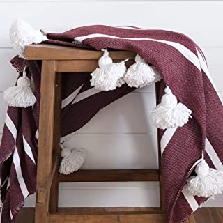 """The Cozy Throw - Authentic Plum & White Moroccan Pom Pom Blanket for Couch, Sofa, or Bed, Modern Boho Design, (50""""W X 58""""L in. App.)"""