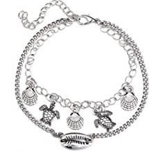 Unicra Bohemian Silver Layered Fishtail Anklet Foot Chain Beach Jewelry Accessories for Women and Girls