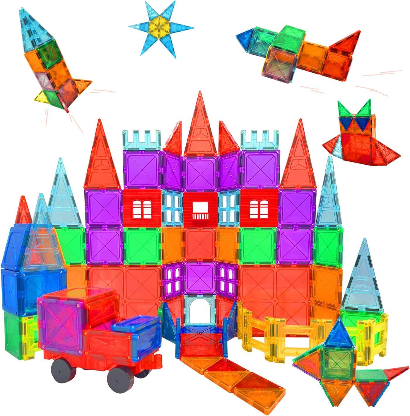 Condis 101 Piezas Bloques de Construcción Magnéticos para Niños, Juguetes Niños de 3 4 5 6 7 8 Años Juegos Magneticos Educativos Viaje Juego de Imanes magneticas para Niños Niñas Montessori Regalos