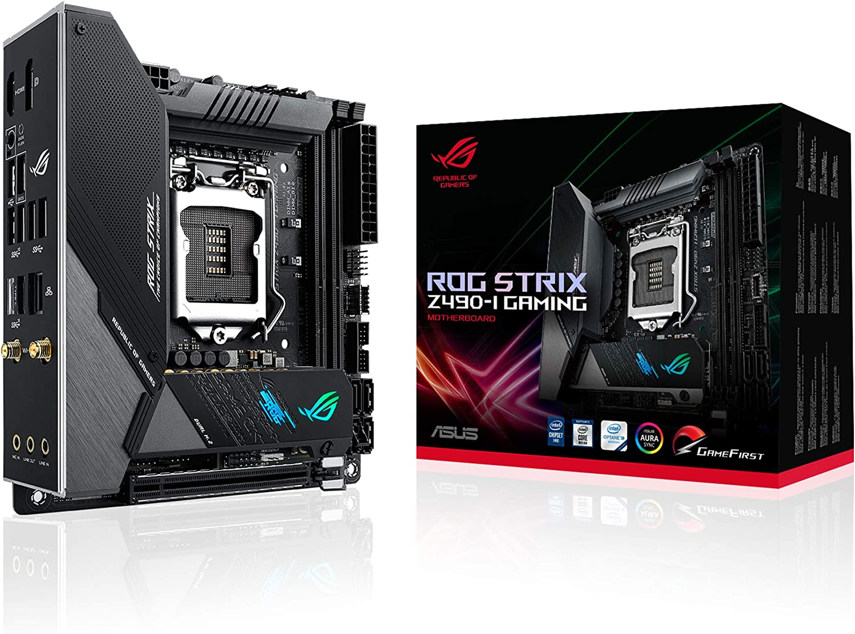 ASUS ROG STRIX Z490-I GAMING - Placa Base Gaming mini-ITX Intel de 10a gen LGA 1200 con VRM de 10 fases, DDR4 4800, AI Overclocking, WiFi 6, LAN 2.5 Gb, USB 3.2 Gen 2, SATA e iluminación RGB Aura Sync