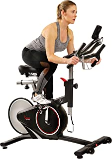 Sunny Health & Fitness Magnetic Belt Rear Drive Indoor Cycling Bike, High Weight Capacity with RPM Cadence Sensor & Pulse Rate Monitor - SF-B1709