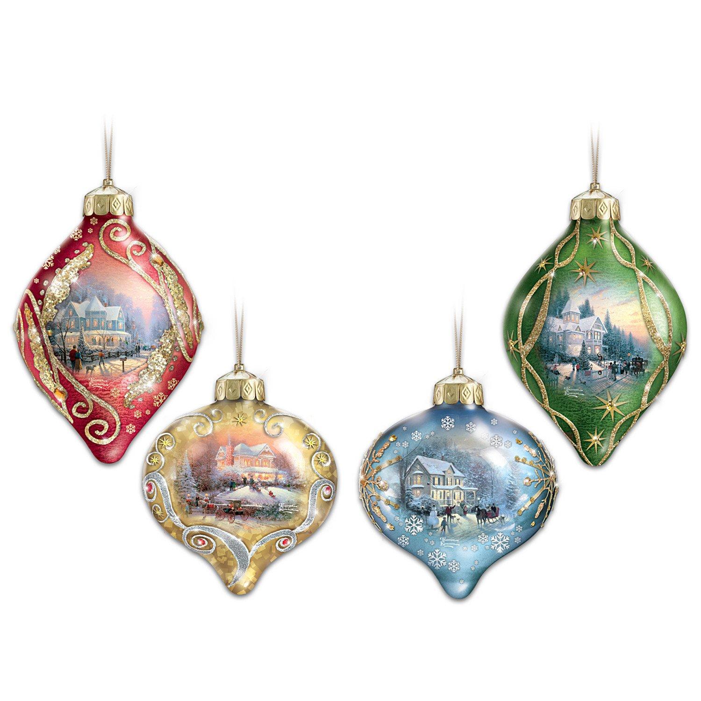 Image of Classic Style Lighted Thomas Kinkade Christmas Tree Ornaments
