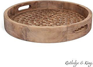 Rutledge & King Brighton Serving Tray - Ottoman Tray/Decorative Tray - Coffee Table Tray/Round Wooden Tray - Breakfast in Bed Tray with Handles - Rustic Wood Tray