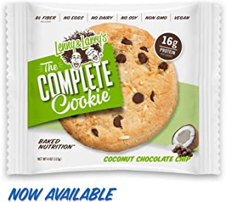 Lenny & Larry's The Complete Cookie, Soft baked Coconut Chocolate Chip , 16g Plant Protein, 4oz cookie, 12 count