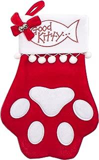 Cheap Chic Seasonal Cat Christmas Stocking - Cat PAW - Good Kitty - Large Size 18