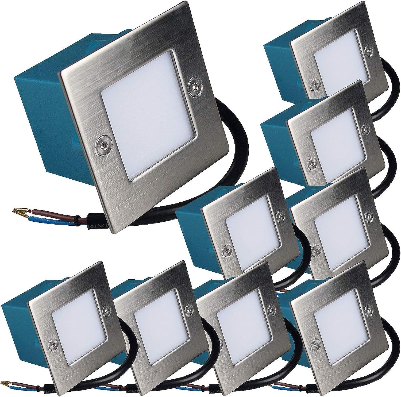 9 Stück LED Wandeinbaustrahler Lukas 230 Volt 1.5 Watt IP54 Treppenbeleuchtung Wei