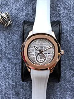 Luxury Brand Stainless Steel Gold Color White dial White Rubber Automatic (self-Wind) Aqua Traveller Watch Watches