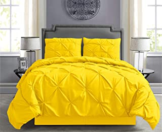 Empire Home Pintuck Hypoallergenic 8-Piece Bed in A Bag Comforter Set - Sheet Set Included!! (Bright Yellow, Queen)