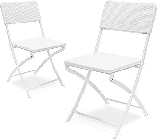 Relaxdays 2 10020055_419-Sillas Plegables de jardín Blanco 50x44x82 cm