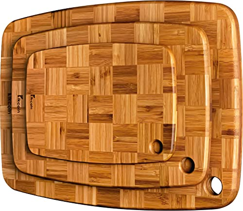 lowest Cutting Boards for Kitchen, Large Bamboo Cutting Boards sale (Set of 3) Chopping Boards with Hanging Hole Bamboo Cutting new arrival Board Set Butcher Block, End Grain Serving Tray by Kikcoin outlet sale
