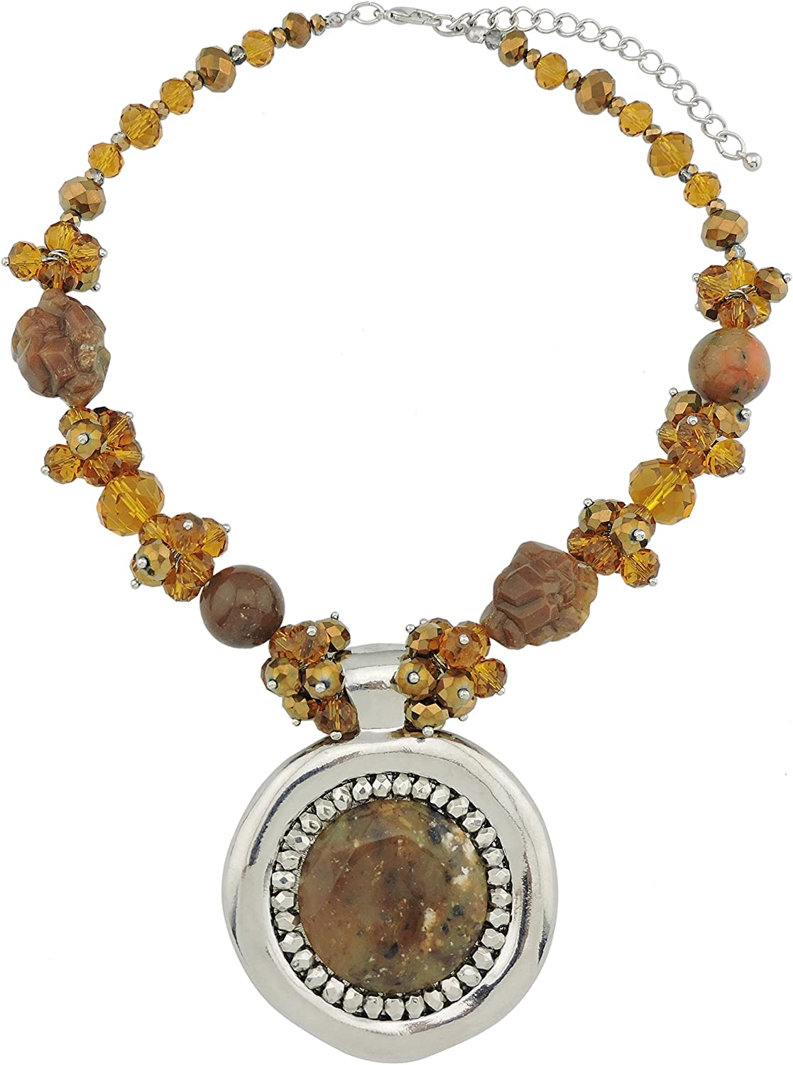 Coiris Statement Collar Beaded Necklace with Big Pendant for Women (N0020-brown)