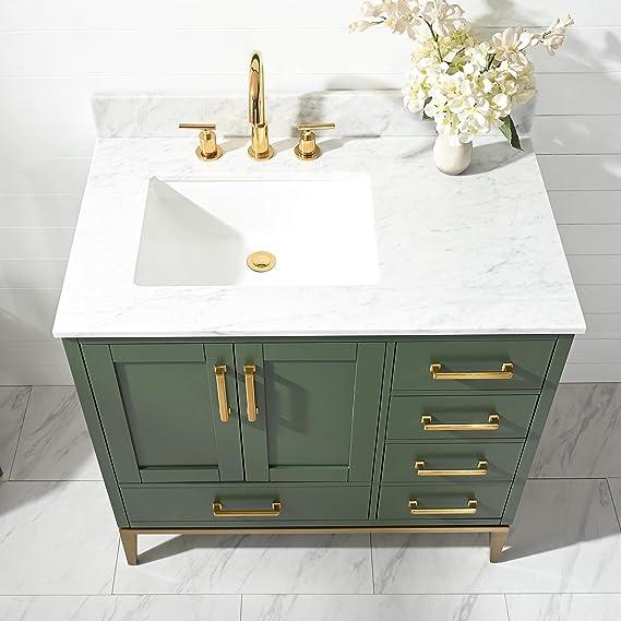 Amazon Com Urbanfurnishing Net Joy 36 Inch 36 Bathroom Sink Vanity Set With White Italian Carrara Marble Top Green Tools Home Improvement