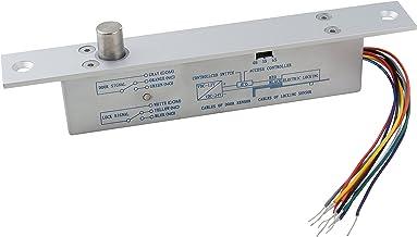 UHPPOTE NO Fail Secure DC12V Deadbolt Electric Drop Bolt Plug Narrow Door Lock Time Open Wire