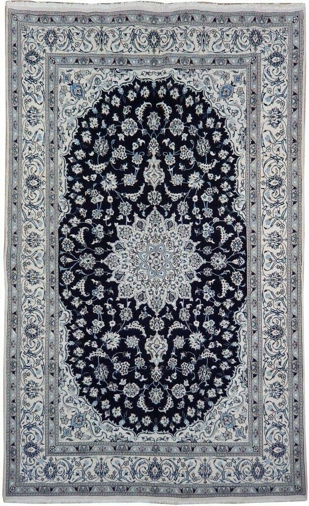 7x10 Wool Special price Silk Nain Navy Blue Persian Max 47% OFF Durable Han Quality Fine