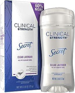 Secret Clinical Strength Antiperspirant Deodorant for Women, Clean Lavendar Scent, Clear Gel, 2.6 Oz