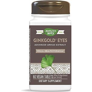 Nature's Way Ginkgold Eyes, Visual Health Formula*, Gluten Free, 60 mg per serving, 60 Vegan Tablets