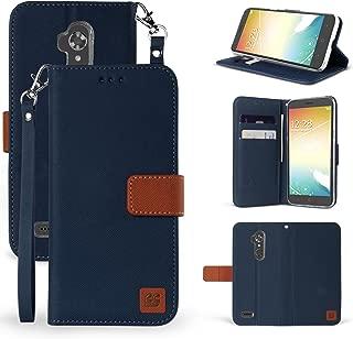 ZTE Max XL N9560 Case, ZTE Blade Max 3 Case, ZTE Zmax Pro 2 Case, MSTECHCORP PU Leather Magnetic Flip Design Wallet Case for ZTE Max XL N9560 (Dark Blue Brown)