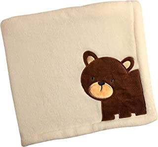 Carter's Friends Collection Baby Blanket and Coral Fleece with Bear Applique, Border/Bear