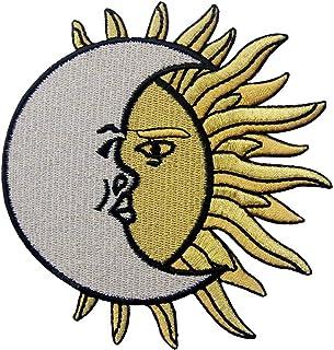 Crescent Moon Over Sol Bordado Parche De Celestes o Coser En Hierro