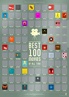 "Travel Revealer 100 Best Movies Scratch Off Poster Best Films of All Time Bucket List Movie Poster (17"" x 24"