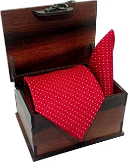 Luxeis Men Premium cotton silk Neck Tie and Pocket Square wooden Combo Gift Set(Red, Free Size)