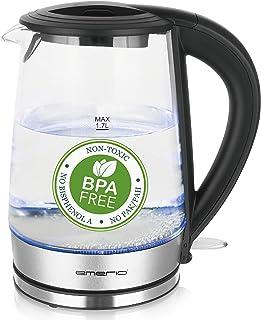 Bouilloire EMERIO WK-123132 WK-123132 sans fil, sans BPA acier inoxydable, noir 1 pc(s)