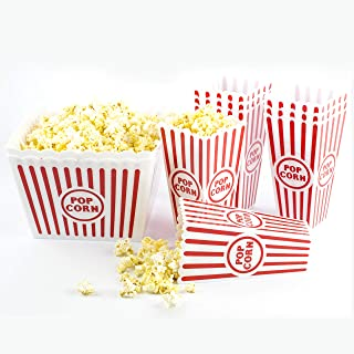 Plastic Popcorn Boxes Reusable | Family Pack x 2 (pack of 10) | Popcorn Buckets Dishwasher Friendly | Sturdy Plastic, Not Flimsy | Movie Theater Style Popcorn Containers | Perfect for Movie Night
