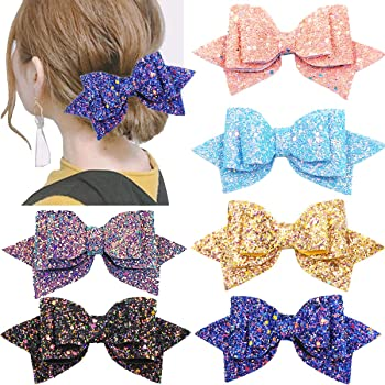 "Handmade navy /& baby pink glitter bows girls 2.5/"" hair clip alligator"