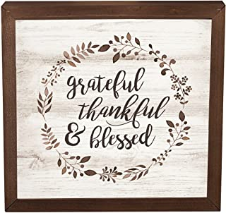 P. Graham Dunn Grateful Thankful Blessed Laurel Wreath 11 x 11 Inch Solid Pine Wood Farmhouse Frame Wall Plaque